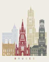 Fototapete - Bruges skyline poster