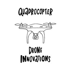 Drone quadrocopter, with hand-drawn inscriptions in black ink.
