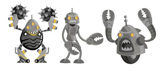 three deadly robots battle
