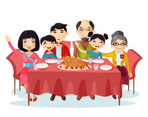 Holiday dinner with turkey of cartoon family