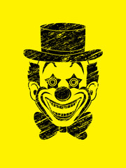 Clown head, smile face designed using grunge brush graphic vector.