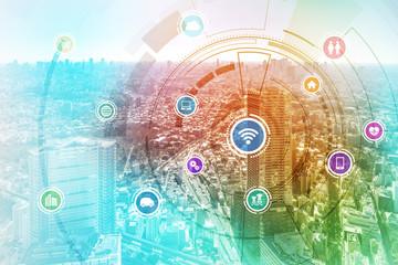 Fototapete - smart city and wireless communication network, IoT(Internet of Things), ICT(Information Communication Technology), digital transformation, abstract image visual
