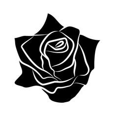 rose silhouettes isolated illustration on white background