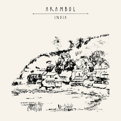 Arambol, Goa, India. Beach, hill, cliff. Huts, shacks, guest houses. Artistic drawing on paper. Travel sketch. Vintage hand drawn postcard or poster template