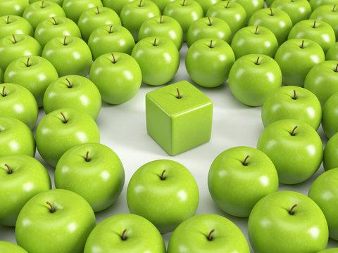 Anders sein, Individualität, Einzigartigkeit, Persönlichkeit – grüne Äpfel
