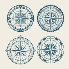 Vintage marine compass logo set