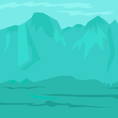 Poster Green coral Ancient prehistoric stone age blue landscape with mountains. Vector illustration