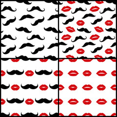 Lips and mustaches vector seamless patterns set
