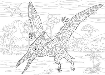 Stylized pterodactyl dinosaur, pterosaur of the late Jurassic period. Freehand sketch for adult anti stress coloring book page with doodle and zentangle elements.