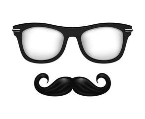 Realistic vector glasses and mustache in black white