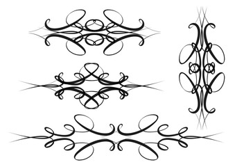 Set of hand drawn calligraphic design elements. Flourish swirl ornate decoration for wedding cards, invitations, menus etc.