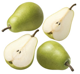 Green pear 4 set isolated on white background