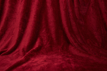 Velvet red drapped curtain cloth full frame