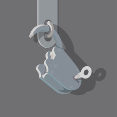 Old open padlock with the key in the keyhole. Vector flat style illustration. Opened lock.