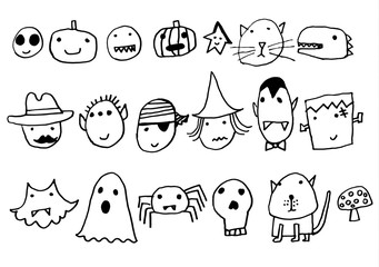 A set of cute characters for Halloween: vampire, witch, monster, zombie, mummy, bat, cat, pirat, devil, frankenstein, ghost, mask, owl, pumpkin, skull, spider. Made of hand drawing. Children's style.