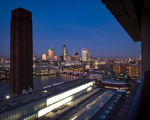 View of the City of London from the Tate Modern at dusk