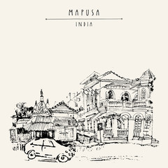 Mapusa, Goa, India. Artistic drawing on paper. Travel sketch. Vintage hand drawn postcard template