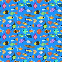 Cute fish vector illustration seamless pattern