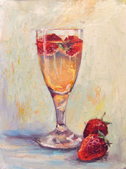Glass of champagne and strawberries, oil painting on canvas. Light multicolored background