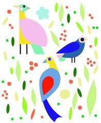 Cute vector birds set. Cartoon collection with bird.