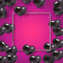 Silver, pink, black 3d hearts. Greeting border, balloons. Text place. Wedding elements. Be My Valentine banner. Vector illustration