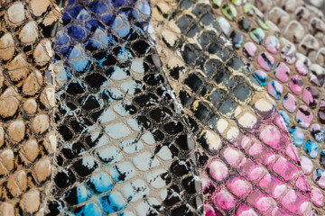 Colored samples of Genuine leather in a different colors. Texture close-up, embossed under the skin reptile