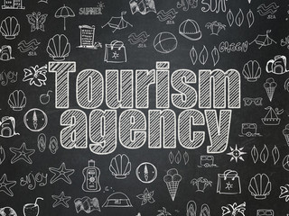 Vacation concept: Tourism Agency on School board background