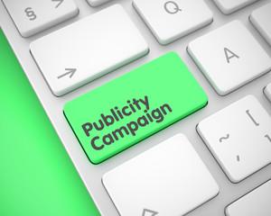 Publicity Campaign - Inscription on Green Keyboard Keypad. 3D.