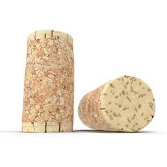 Wine Cork on white. 3D illustration