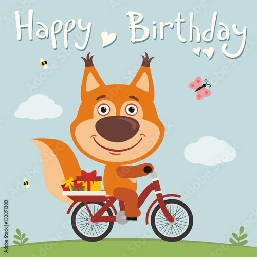 Happy Birthday Funny Squirrel On Bike With Gifts Birthday Card