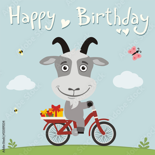 Happy birthday funny goat on bike with gifts birthday card with happy birthday funny goat on bike with gifts birthday card with cute goat in bookmarktalkfo Image collections