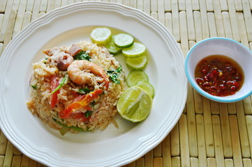 fried rice mixed seafood and pork with chili fish sauce
