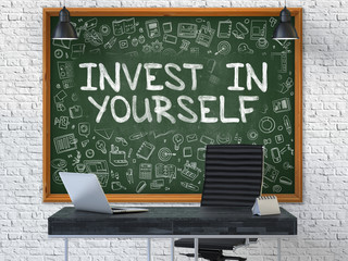 Hand Drawn Invest in Yourself on Office Chalkboard. 3D.