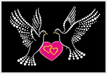 Pigeons, heart, love