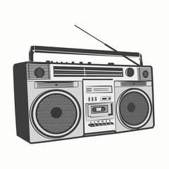 Tape recorder, Cassette recorder outline illustration vector
