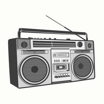 Tape recorder, Cassette recorder outline illustration vector