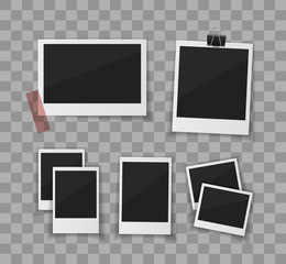 Remember every moment. Instant photo frame collection. Vector  photo sticked with paper tape and hanged with paper clip. Empty retro photo frames on white background.