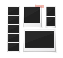 Enjoy every moment. Instant photo frame collection. Vector photobooth and  photo sticked with paper tape and hanged with paper clip. Empty retro photo frames on white background.
