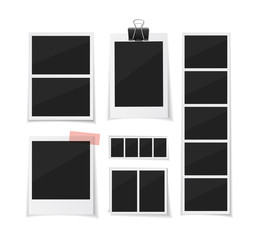Collect moments. Instant photo frame collection. Vector photobooth and  photo sticked with paper tape and hanged with paper clip. Empty retro photo frames on white background.