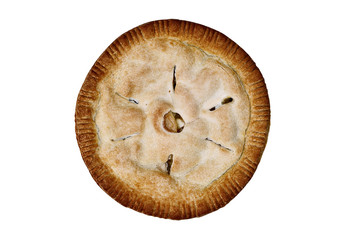 Apple pie shot from above and isolated over a white background with clipping path included.
