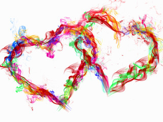 love abstract background heart colorful smoke