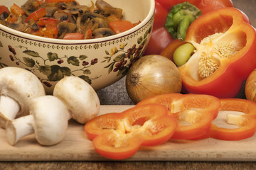 Vegan dish - peppers, mushrooms and onions.