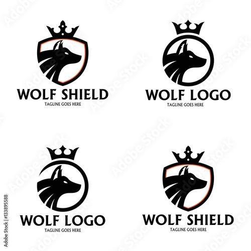 quotwolf logo design template wolf shield logo design