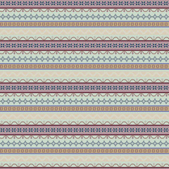 Seamless geometric vintage pattern with stripes and small elemen