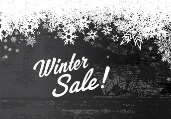 Winter sale illustration template with grey background and white