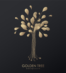 Golden abstract tree created from lines and leafs.
