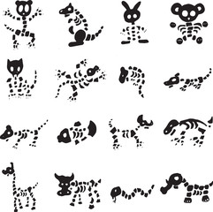 Collection Of Animal Skeleton Cartoon Vectors