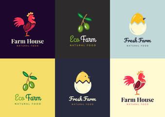 Fresh farm logos set. Vector labels for urban business with products from chicken meat, eggs and olives.