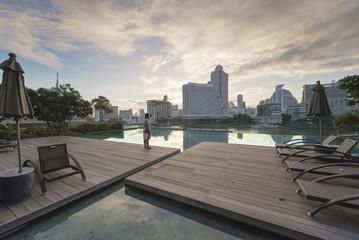 A Swimming Pool in  Chao Phraya River at sunrise,  Bangkok, Thailand