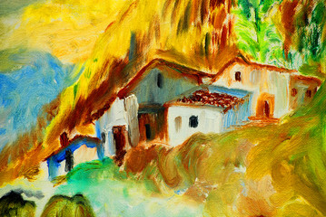 old spanish village in pyrenees mountains, oil painting, illustration